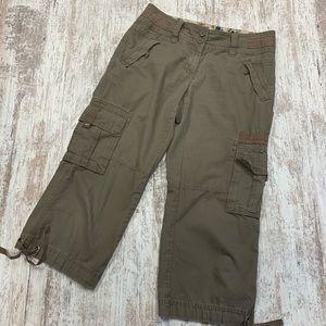 CAbi driftwood brown cargo Capri pants